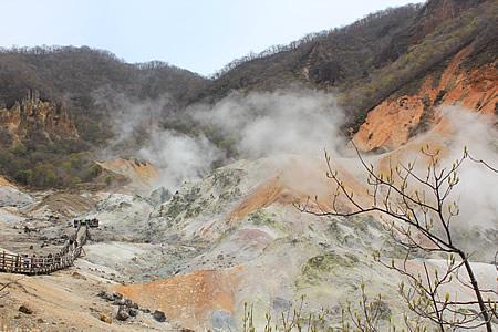 地獄谷から煙モクモク