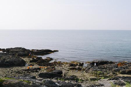 道の駅「さがのせき」の前の海